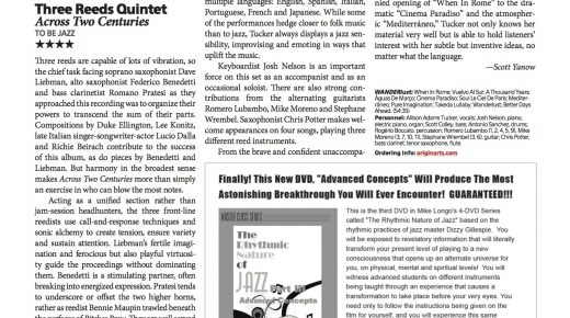 "THREE REEDS QUINTET. Recensione di ""Across Two Centuries"" sulla rivista americana DownBeat Magazine"